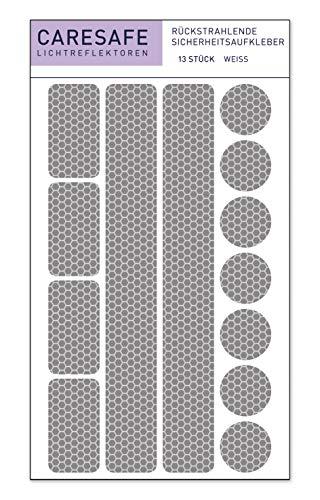 Caresafe Reflektierende Licht Reflektoren Aufkleber weiß - 13 Reflektorenaufkleber Set für Kinderwagen, Fahrrad und Helme - Reflektor Leuchtaufkleber Sticker