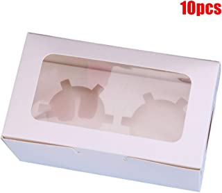 10pcs Cupcake Box Range 2 Hole 4 Hole 6 Hole Clear Window Face Case Party Boxes