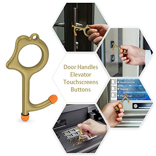3* Handheld Brass No Touch Door Open Tool Touchscreen available EDC Keychain