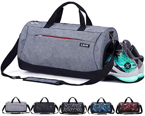 CoCoMall - Sacca sportiva da palestra con scomparto per scarpe e tasca per abiti bagnati, borsone da viaggio per uomo e donna, Grey, Size: 20 * 10.5* 10 inches --35 Liters