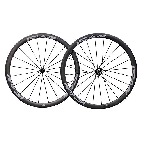 ICAN 38mm 700C Ruedas de Carbono Cubierta Bici Carretera 20/24 Agujeros Shimano 10/11 V