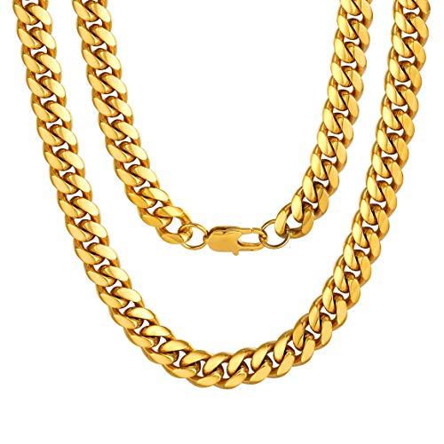 ChainsPro Kubanische Kette Panzerkette Halskette Herren Edelstahl Gold Collier Kette 10mm Breit Hip Hop Kette Cuban Link Chains 20 Zoll Panzerkette Erbskette Für Herren/Männer/Junge