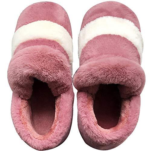 Zapatillas de felpa con diseño de rayas para mujer, piel de conejo sintética, para casa, mullido, antideslizante, suave, espuma de memoria de algodón, para interiores y exteriores, color rojo, M