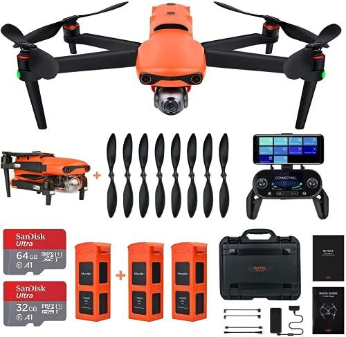 Autel Robotics EVO 2 Rugged Bundle 8K Camera Drone Foldable Drone Quadcopter, No Geo-Fencing (2021 Fly More Combo)