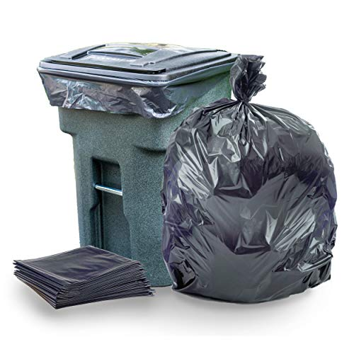 Plasticplace 95-96 Gallon Garbage Can Liners  2 Mil  Black Heavy Duty Trash Bags  61 x 68, 25 Count