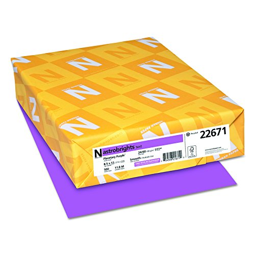 Neenah Astrobrights Premium Color Paper, 24 lb, 8.5 x 11 Inches, 500 Sheets, Planetary Purple (22671)