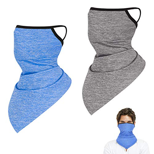2 Pack Neck Gaiter with Ear Loops, Outdoor Face Cover Scarf Bandana Balaclava for Men and Women (Deep Blue & Gray)