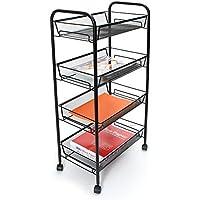 Mind Reader Roll 4-Shelf Rolling Black Metal Mesh Coffee Cart
