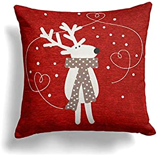 "Ideal Textiles Luxury Chenille Christmas Cushion Cover, Reindeer, Scarf, 45cm x 45cm, 18"" x 18"", Red:Viralbuzz"