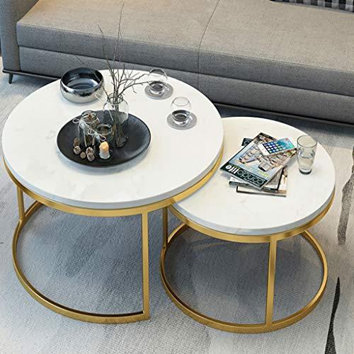 FZH salontafel, marmer-look, bijzettafels, ronde bijzettafels met gouden metalen frame, woonaccessoireset (set van 2)