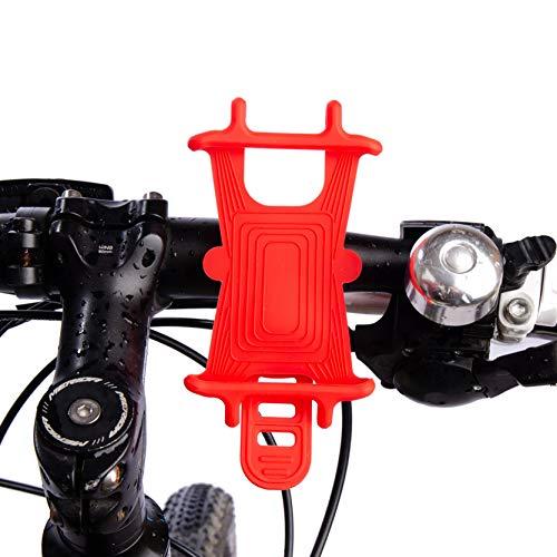Widamin Handyhalterung für Fahrrad, Motorrad, Silikon, für Mountainbikes, Roller, Kinderwagen, Golftrolleys (rot)