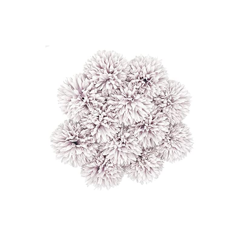 silk flower arrangements benvo artificial flowers 12pcs real looking hydrangea faux silk plastic chrysanthemum ball flowers fake flowers with stems for wedding bouquets centerpieces bridal party home kitchen decoration-purple