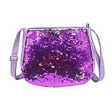 Baby Kids Sequin Crossbody Bag Mini Glitter Purse Handbag for Little Girls (Purple)