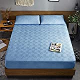 XGguo Protector de colchón - Protector de colchón antialérgico Sábana de Cama de una Pieza, Transpirable, Gruesa, a Prueba de Polvo, Azul_120cmx200cm
