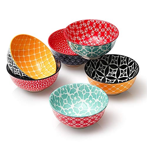 DOWAN Porcelain Small Bowls, 10 Fluid Ounces Vibrant Colors Dessert Bowls, Cute Snack Bowls for Ice Cream, Miso Soup, Side Dishes, Condiment, Microwave and Dishwasher Safe, Lightweight, Set of 6