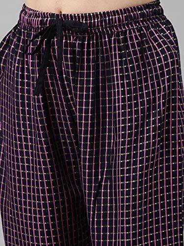 GoSriKi Women's Rayon Cotton Straight Foil Printed Kurta, Palazzos and Dupatta (CLIENT-NAVY BLUE_XL)