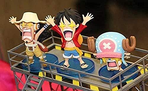 LEH-MOU Anime One Piece Star Eyes Divertido Luffy Chopper Usopp Cute Figure Model Toys Luffy Red-Luffy White-Luffy White