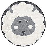 DomDeco Kinderteppich Rund mit Schaf-Motiv - kuschelig, weicher Hochflor und Robustes Flachgewebe für Kinderzimmer von Babys/Jungen/Mädchen - Ø120 cm in Schwarz/Weiß