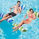 Hamaca flotante de agua, hamaca de agua, hinchable, tumbona para mar, piscina, 2 unidades (Light Blue+Green)