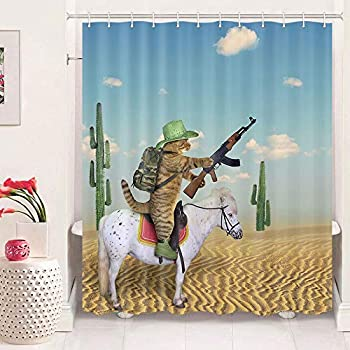 Funny Animals Shower Curtain for Bathroom Western Cowboy Cat Riding a Horse in The Desert Funny Adult Shower Curtain Set Shower Curtain with 12 Hooks  69  W by 70  L