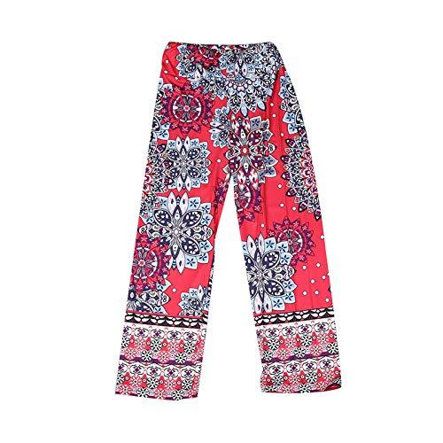 Xmiral Yoga Hose Damen Böhmen Bedruckte Retro Crotch Pants Gerade Sporthose Jogginghose(Rosa,M)