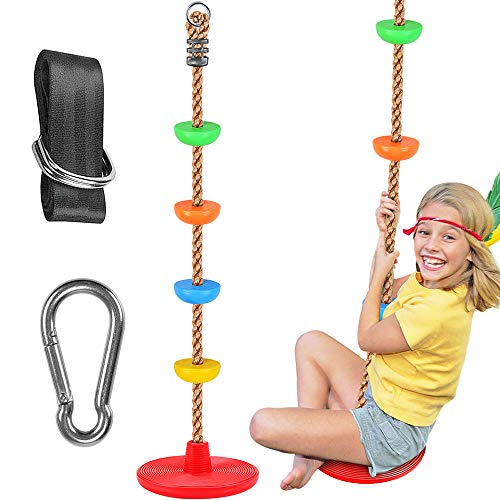WAREMAID Climbing Rope Tree Swing with Platforms and Disc Swings Seat,...
