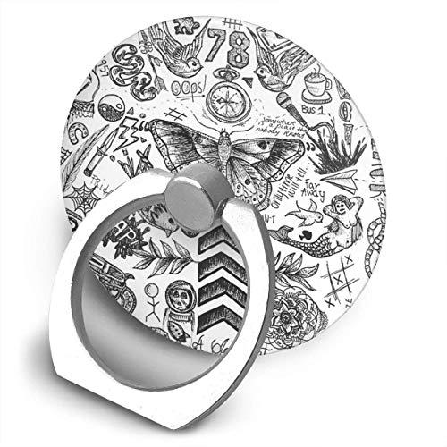 ARRISLIFE One Direction Tattoos Soporte para teléfono,Round-Shaped Soporte para Anillo de teléfono Celular,360 Degrees Rotating Soporte de Metal