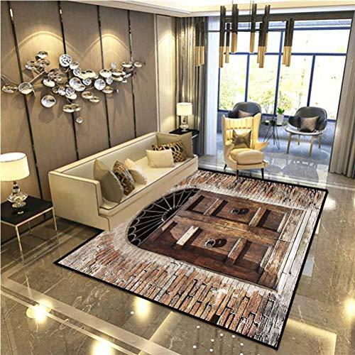 Tuscan Soft Indoor Large Modern Area Rugs Narrow Cobblestone Street Modern Indoor Home Living Room Floor Carpet 6.5 x 8 Ft