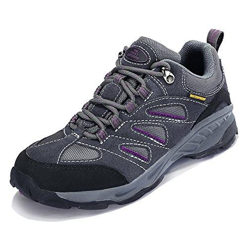 TFO Damen Trekking & Wanderschuhe Wasserabweisende und Atmungsaktive Outdoor Schuhe mit Rutschfester Sohle, Grau, 37.5 EU