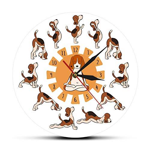 WANGY Perro Haciendo Yoga Reloj de Pared de Yoga Perro Mascota de Dibujos Animados Reloj de Pared de Yoga