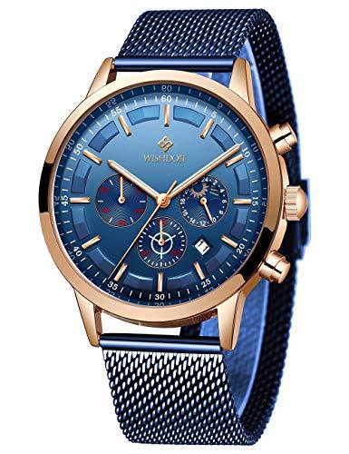 Relojes Hombre,Relojes de Pulsera,Mode Cronografo Diseñador Impermeable Reloj Hombre de Acero Inoxidable Analogicos Fecha