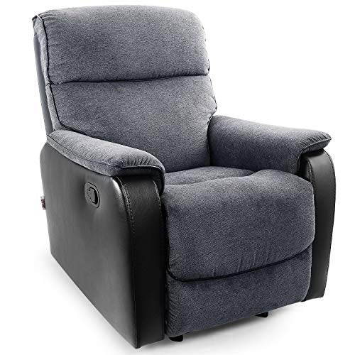 POMOHOME Fabric Recliner Chair Sofa, Rocker Recliner with Thick Seat Cushion and Backrest, Single Sofa Chair, Ergonomic Living Room Chair with Adjustable Angle, Grey