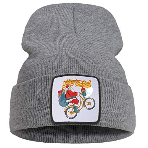 ZZDGFC Natale Babbo Natale Sta Cavalcando Una Bicicletta Cappello Invernale Cappello da Esterno Casual Beanie Cappello Caldo Moda Cappelli Unisex Comfort Cappelli CreativiGrigio