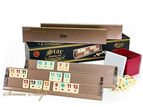 Semus Star Spezial Ediotion Rummy / Okey mit Melamin Spielsteine Ahsap Okey Takimi Kugelschreiber (Gold)
