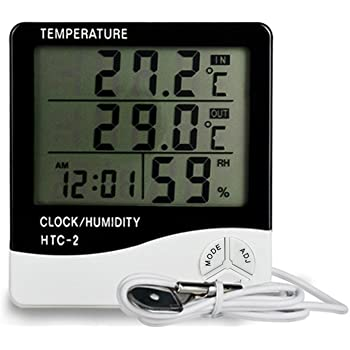 KKmoon HTC-2 デジタル 温湿度計 室内外 大画面 時間カレンダー アラーム 目覚まし時計 温度計湿度計