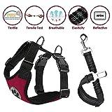 Lukovee Dog Safety Vest Harness Seatbelt, Dog Car Harness Seat Belt Adjustable Pet Harnesses Double Breathable Mesh Fabric Car Vehicle Connector Strap Dog