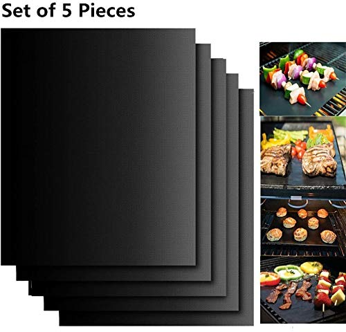 FIF-Grillmatte, 5-Grill-Grillmatten Antihaft-Mehrweg- undBackgitter-Gas-Holzkohle-Grillplatten 40 x 33 cm (schwarz), 40 x 33 cm
