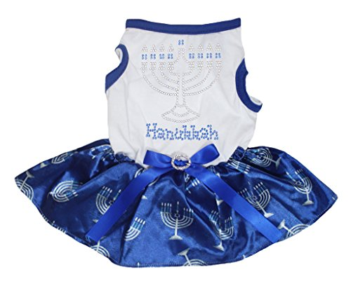 Petitebelle Hond Jurk Bling Hanukkah Kandelaar Wit Katoen Shirt Blauw Tutu, Large, Groen