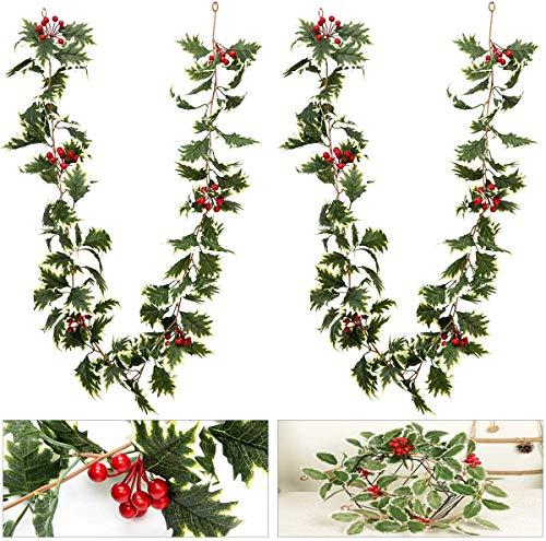2pcs Navidad Guirnalda de Bayas Borgoña Berry Garland Guirnalda de Hojas Verdes para la Temporada de Invierno de Vacaciones Decoración de Navidad Año Nuevo