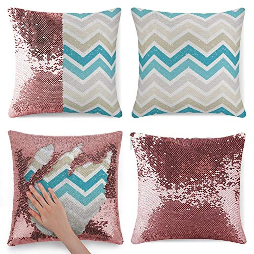Funda de almohada con lentejuelas, funda de almohada con lentejuelas, diseño abstracto en zigzag, detalles geométricos, turquesa y beige con lentejuelas, funda de cojín reversible con lentejuelas