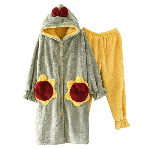 Pijamas Gruesos de Franela de Invierno para Mujer, Pantalones con Capucha, Pijamas navideños de Lana Coral, Ropa Informal cálida de Talla Grande, A, M