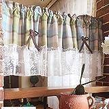 WYCD Tenda in Cotone Naturale, Tende a Mezza Finestra, Tendina Scorrevole Rurale Europea per Casa/Bar/Cucina, Tende Corte