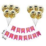 Globos 12inch Rose Oro Confeti Feliz Globo Inflable Latex Balloon Negro Feliz Cumpleaños Bandera 30 ° 40.a 50ª decoración de la Fiesta de cumpleaños (Color : Rose Pink Set)