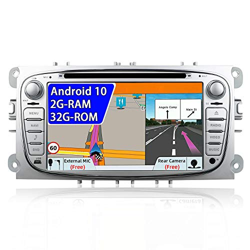 JOYX Android 10 Autoradio Compatible para Ford Focus/Mondeo/S-Max/C-Ma/Galaxy - 2G+32G - LIBRE Cámara trasera & Canbus - Soporte Bluetooth5.0 WLAN MirrorLink DAB Carplay 4G - GPS 2 Din - 7 pulgadas
