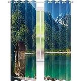 Cortinas opacas estampadas, paisaje idílico, lago alpino del norte de Italia, frontera eslovena Julian Alpes, 52 x 72 con ojales para tratamiento de ventanas, verde mar, azul y marfil