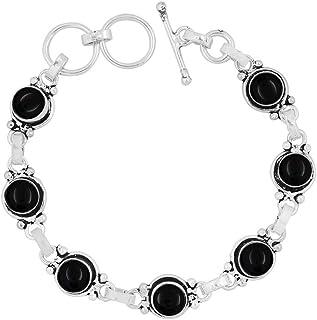Genuine Gemstone Round Shape 925 Silver Plated Handmade Oxidized Finish Link Bracelet Jewelry
