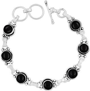 Genuine Gemstone Round Shape 925 Silver Plated Handmade Link Bracelet Jewelry