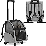 KOPEKS Deluxe Backpack Pet Travel Carrier with Double Wheels - Grey - Large (KPS-1116)