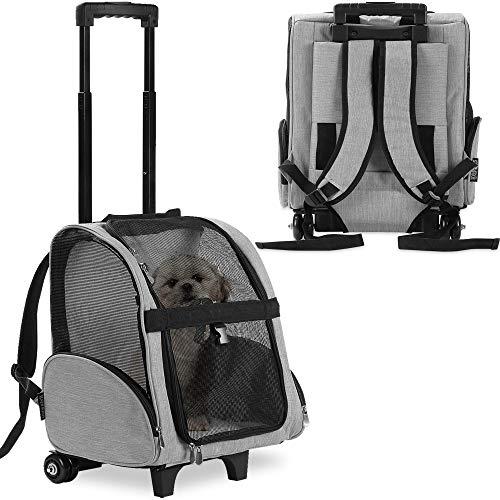 KOPEKS Deluxe Backpack Pet Travel Carrier with Double Wheels - Grey - Large (KPS-1116)
