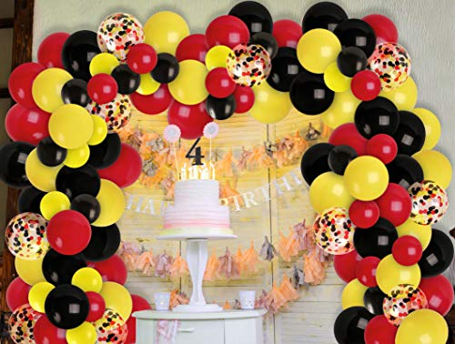 Black Red Yellow Balloon Garland Kit Red Black Yellow Confetti Balloons Arch for Birthday Baby Shower Party Bachelorette Casino Party 2021 Graduation Decorations